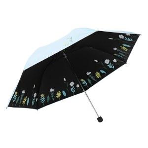 天堂伞三折黑胶铅笔晴雨伞遮阳伞太阳伞33545E