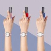 依波表(EBOHR)手表 女士钢带超薄日历石英表 镶钻时尚防水潮流气质款小巧女式轻奢网带腕表 优雅白面网带