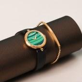 C&C镶钻小绿表【郑爽同款】手表女英国时尚防水石英女士手表正品天然孔雀石小绿表