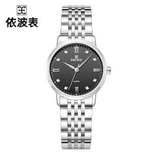 依波(EBOHR)手表 大师系列简约休闲钢带男士时尚钟表情侣表白色石英男表